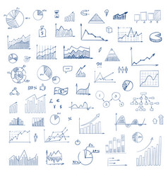 freehand drawing charts items vector image