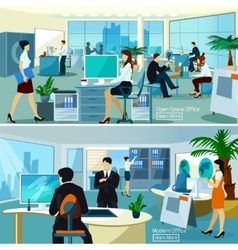 Office Compositions With Working People vector image