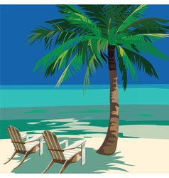 Summer Beach with lounge chairs vector image