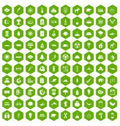 100 eco icons hexagon green vector