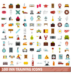 100 inn training icons set flat style vector