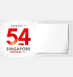 54 years singapore national day poster vector image