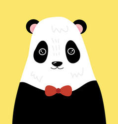 a cartoon portrait a panda stylized grizzly vector image