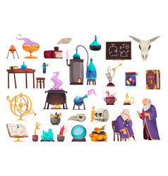Alchemy cartoon set vector