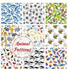 animal bird fish and insect seamless pattern vector image