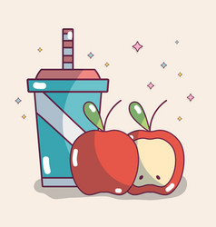Apples fruits and juice vector