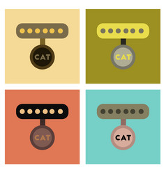 Assembly flat icons cat collar vector