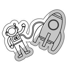 astronaut rocket exploration outline vector image