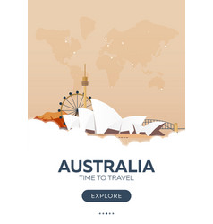 Australia time to travel travel poster vector