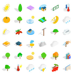 autumn forest icons set isometric style vector image