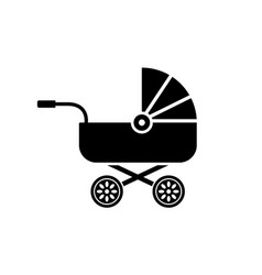 Baby carriage icon buggy pram stroller silhouette vector