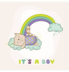 Baby Cat Sleeping on a Rainbow - Baby Shower vector image vector image