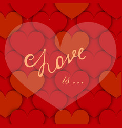 background with paper hearts and lettering vector image