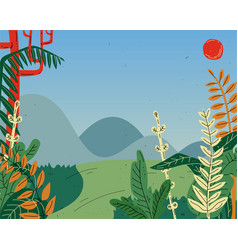 beautiful summer nature landscape with mountains vector image