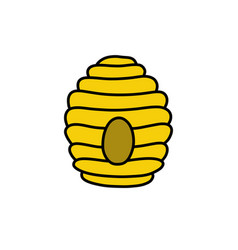 Bee hive doodle icon color vector