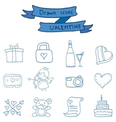 Blue icon of valentine day element vector