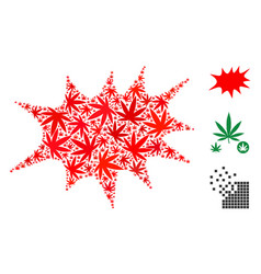Boom bang mosaic of cannabis vector