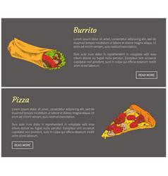 burrito and pizza slice set vector image