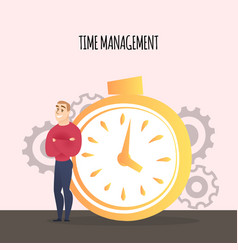 businessman stand near stopwatch time management vector image