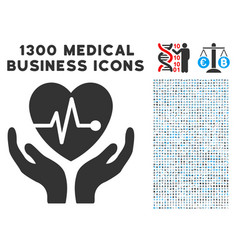 cardiology care hands icon with 1300 medical vector image
