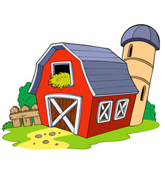 Cartoon red barn vector