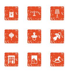 Childlike garden icons set grunge style vector