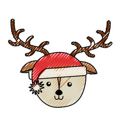 christmas deer face cartoon vector image