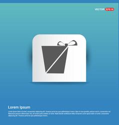 christmas gift box icon - blue sticker button vector image