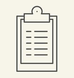 clipboard thin line icon document graph vector image