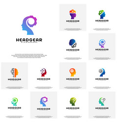 collection head gear logo head intelligence logo vector image