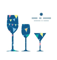 Colorful doodle bunting flags three wine glasses vector