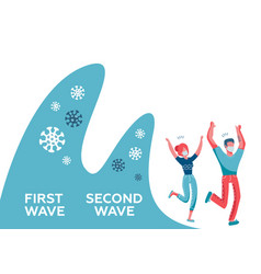 covid19-9 second wave people wearing face vector image