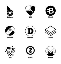 cryptocurrency icons set simple style vector image
