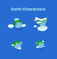 cute and funny earth character collection for vector image