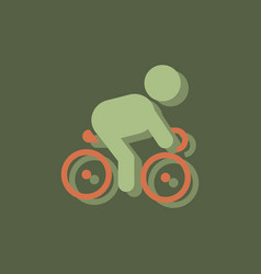Cyclist on bicycle riding bicycle outdoors at vector