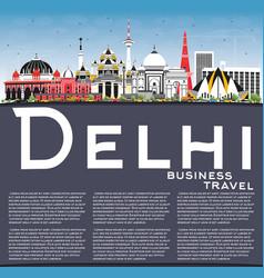 Delhi india city skyline with color buildings vector
