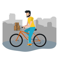 delivery guy with box vector image