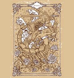 Fantasy zodiac sign scorpion in gothic frame vector