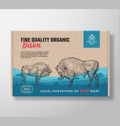 fine quality organic bison meat packaging vector image