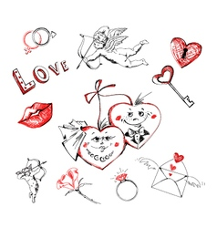 Freehand drawing valentines day vector