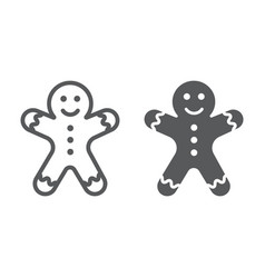 gingerbread man line and glyph icon christmas vector image