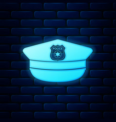 Glowing neon police cap with cockade icon isolated vector