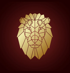 golden lion head geometric silhouette vector image