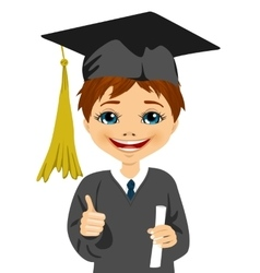 Graduation little boy holding his diploma vector