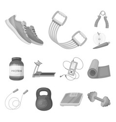 Gym and training monochrome icons in set vector