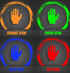 Hand print sign icon Stop symbol Fashionable vector image