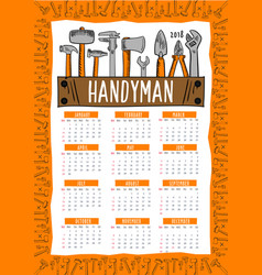 Handyman work tools calendar 2018 vector