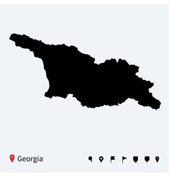 High detailed map of Georgia with navigation pins vector image