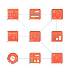 icon set process development vector image