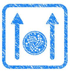 iota coin send arrows framed stamp vector image
